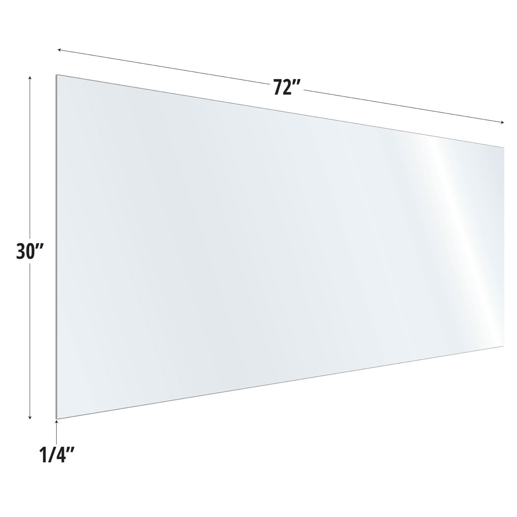 OfficeSource SafeGuard Barrier Collection Clear Acrylic Screen with Square Edges – 72″W x 30″H