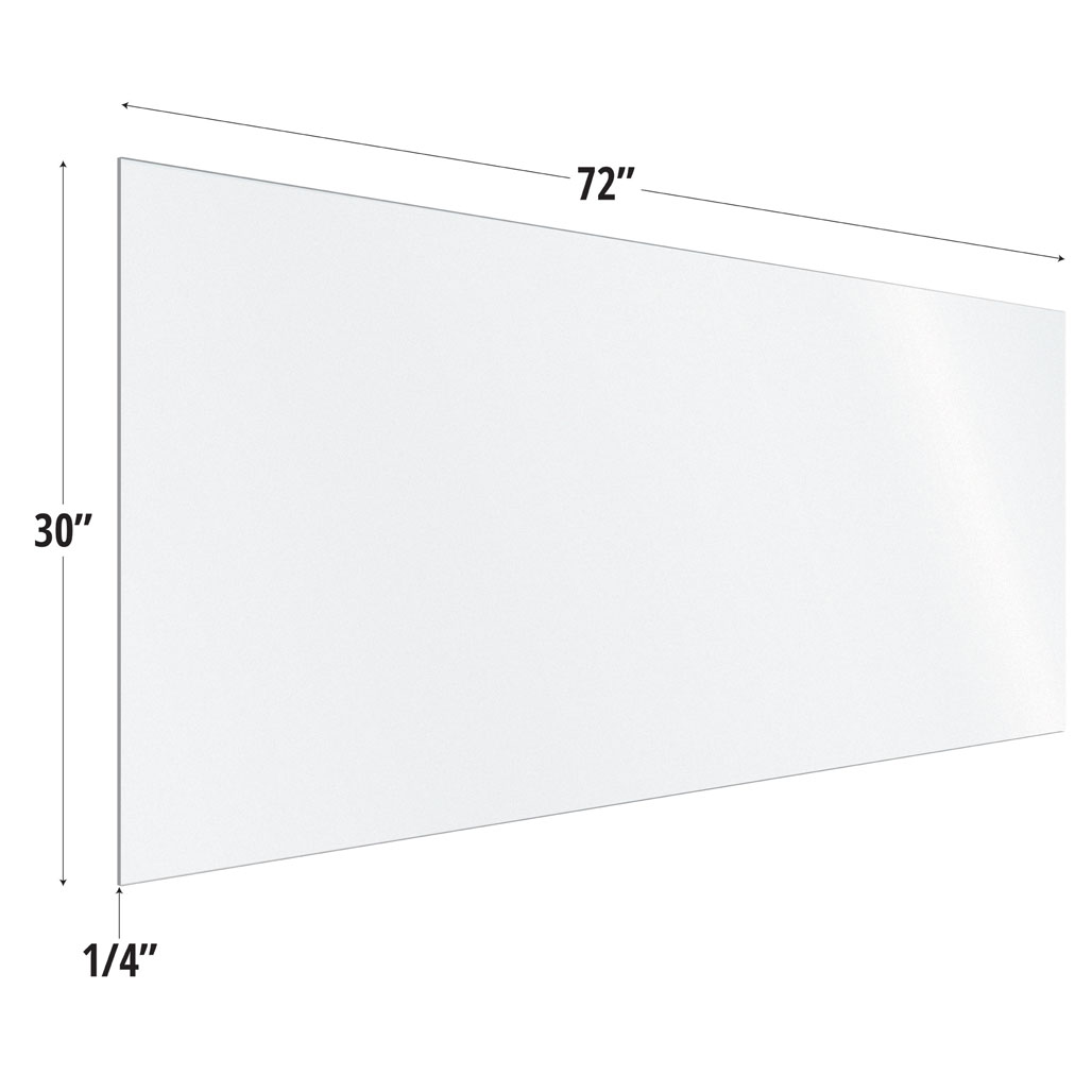 Frosted Acrylic Screen with Square Edges – 72″W x 30″H