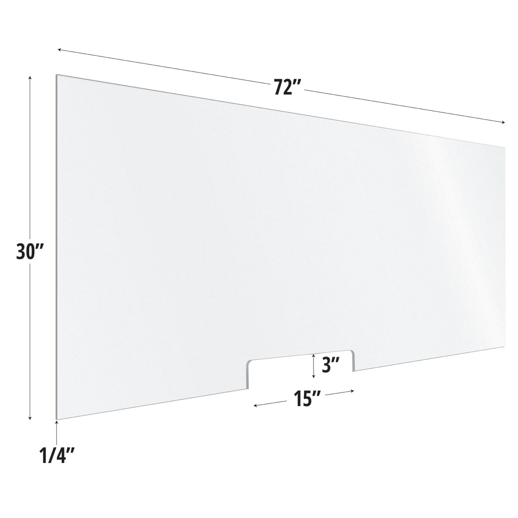 Frosted Acrylic Screen with Transaction Cutout – 72″W x 30″H
