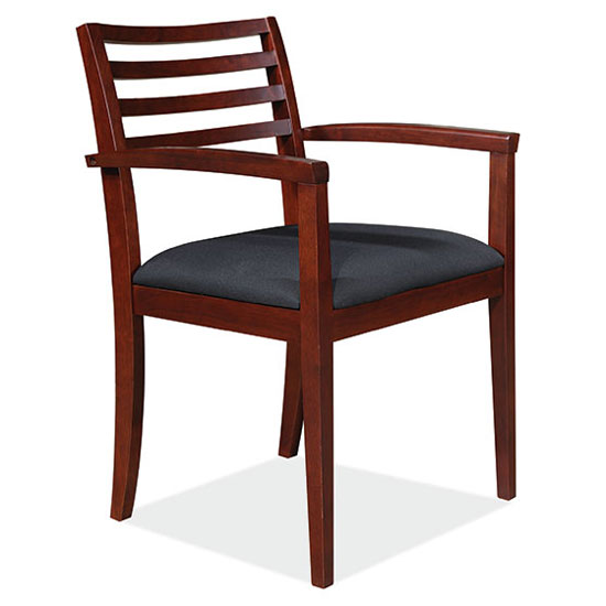 Slat Back Guest Chair with Arms and Wood Frame