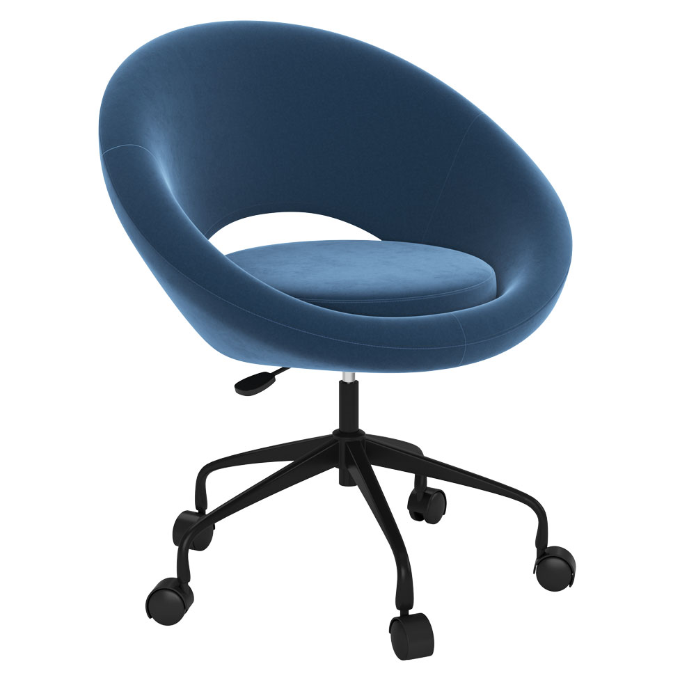 OfficeSource Scoop Collection Mid-Century Modern Chair with Five Star Base