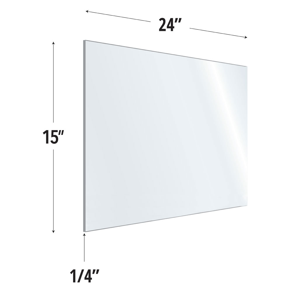 Clear Acrylic Screen with Rounded Edges – 24″W x 15″H