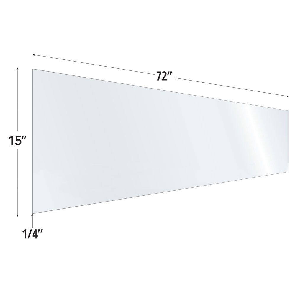Clear Acrylic Screen with Rounded Edges – 72″W x 15″H