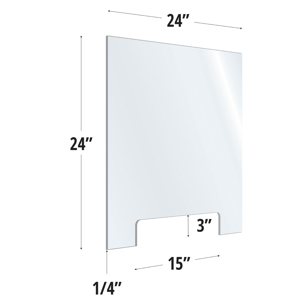 Clear Acrylic Screen with Transaction Cutout – 24″W x 24″H