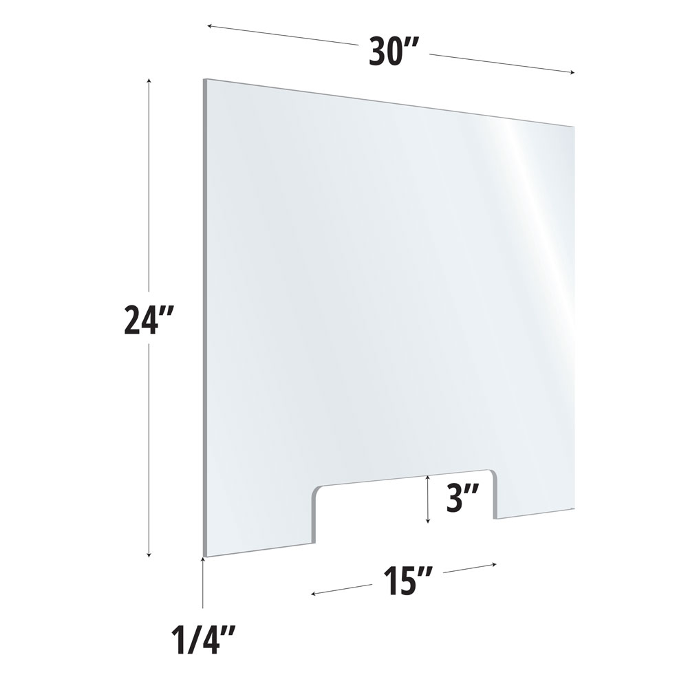 Clear Acrylic Screen with Transaction Cutout – 30″W x 24″H
