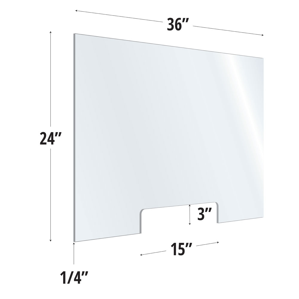 Clear Acrylic Screen with Transaction Cutout – 36″W x 24″H