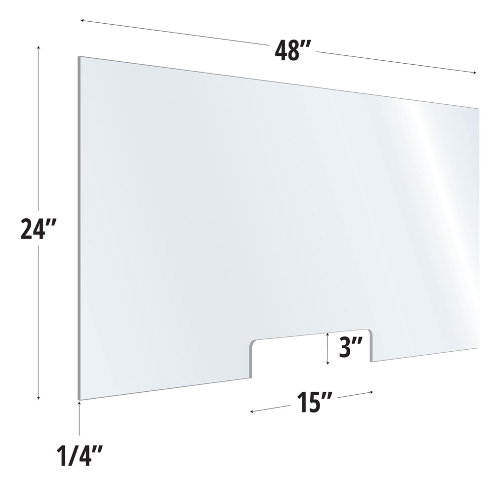 Clear Acrylic Screen with Transaction Cutout – 48″W x 24″H