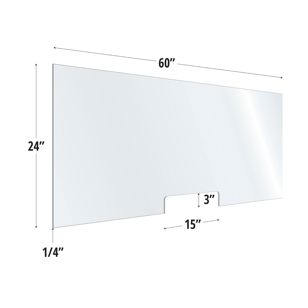 Clear Acrylic Screen with Transaction Cutout – 60″W x 24″H