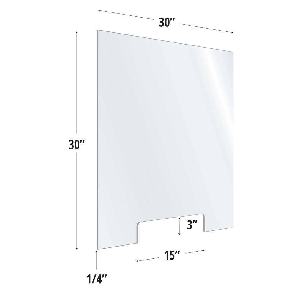 Clear Acrylic Screen with Transaction Cutout – 30″W x 30″H
