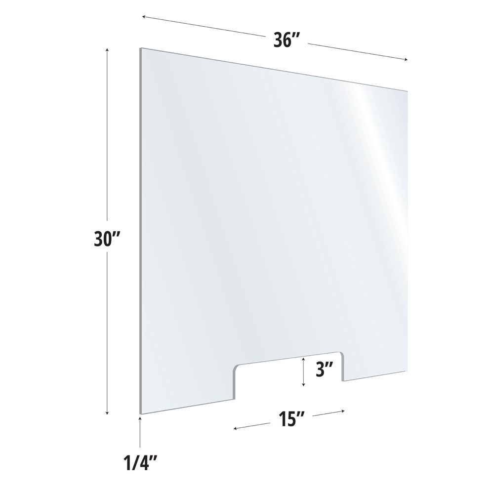 Clear Acrylic Screen with Transaction Cutout – 36″W x 30″H