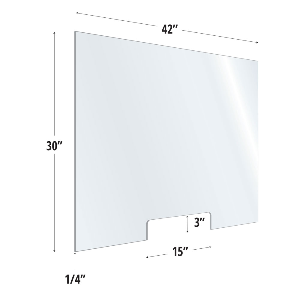 Clear Acrylic Screen with Transaction Cutout – 42″W x 30″H