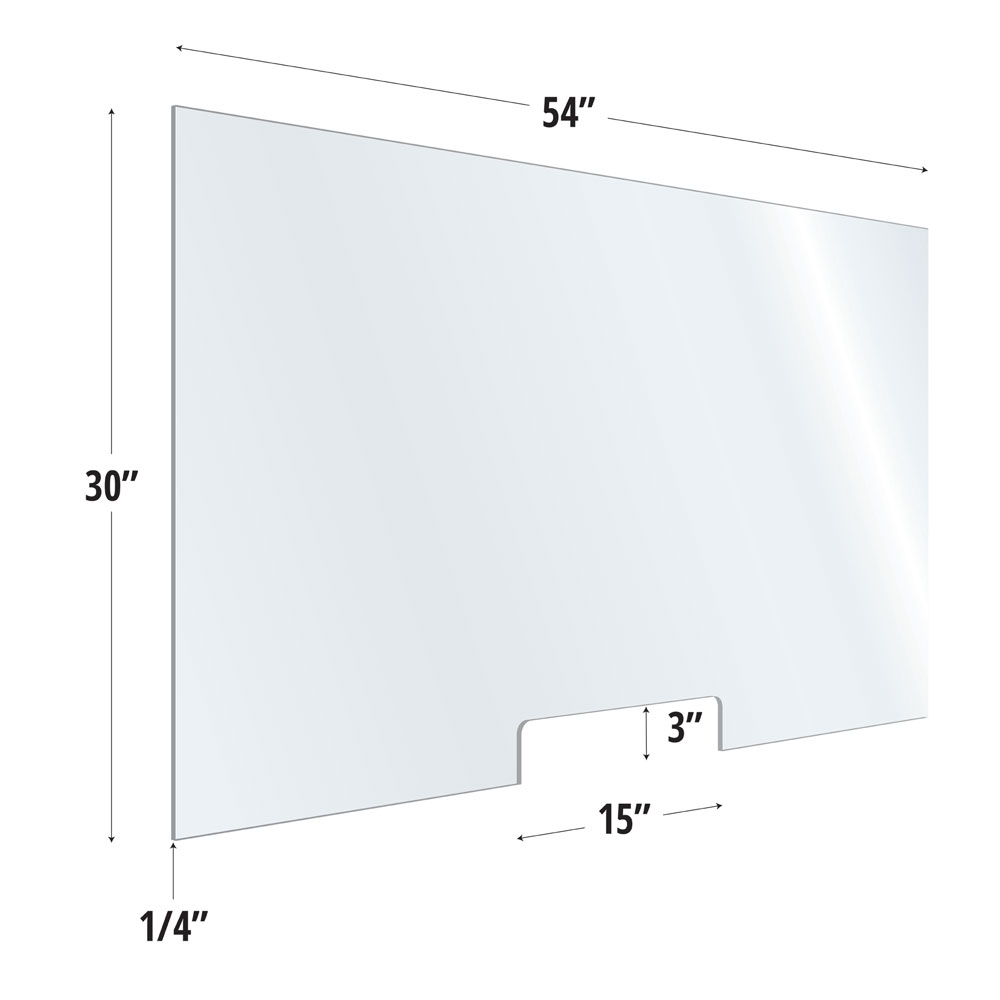 Clear Acrylic Screen with Transaction Cutout – 54″W x 30″H