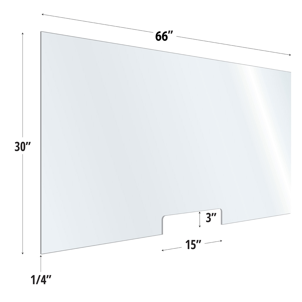 Clear Acrylic Screen with Transaction Cutout – 66″W x 30″H