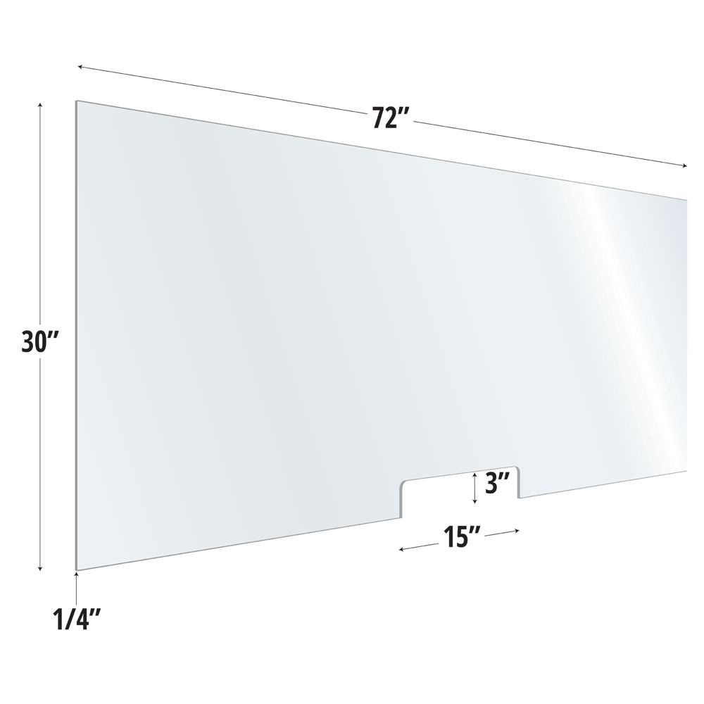 Clear Acrylic Screen with Transaction Cutout – 72″W x 30″H