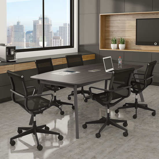 "94"" Boat Shape Conference Table with Grommet"