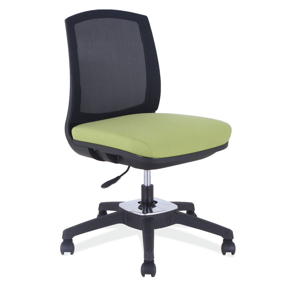 Armless, Mesh Back Core Chair With Rotating Tilt and Black Base
