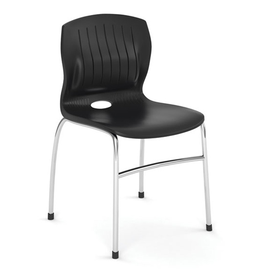 OfficeSource Slash Collection Armless Guest Stack Chair with Chrome Frame