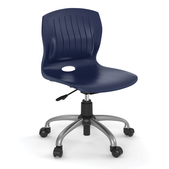 OfficeSource Slash Collection Armless Poly Swivel Chair with Chrome Frame