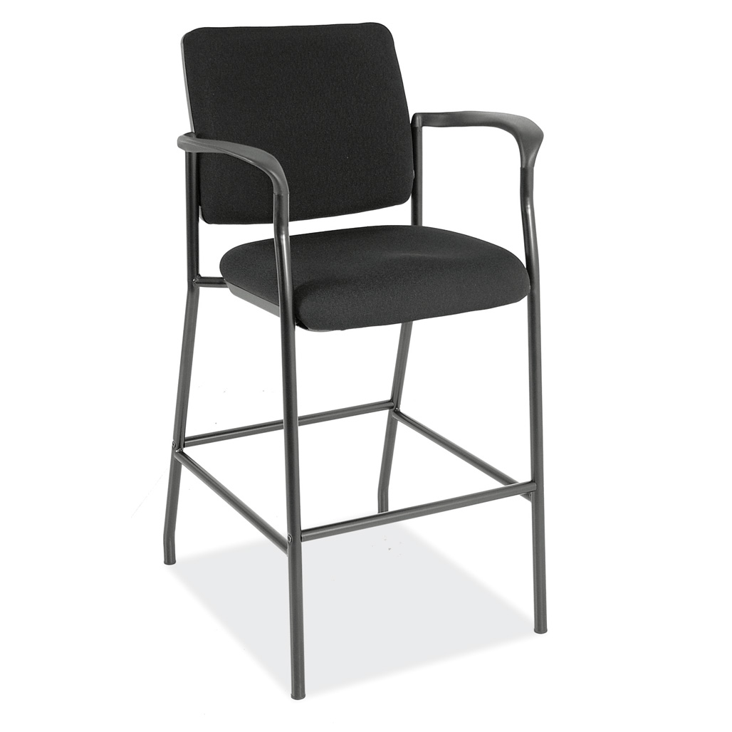 OfficeSource Sleek Stool Fabric Guest Stool with Arms and Black Frame