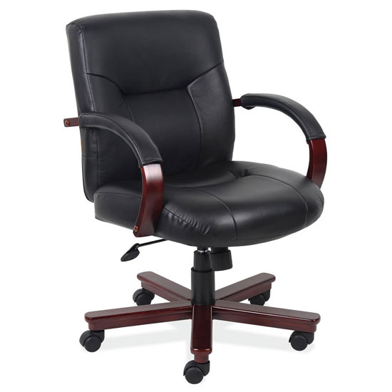 Executive Mid Back Swivel Tilt with Mahogany Frame