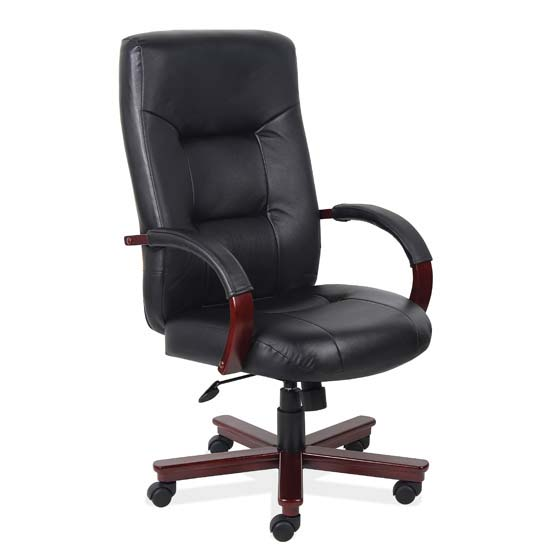 Executive High Back Swivel Tilt with Mahogany Frame