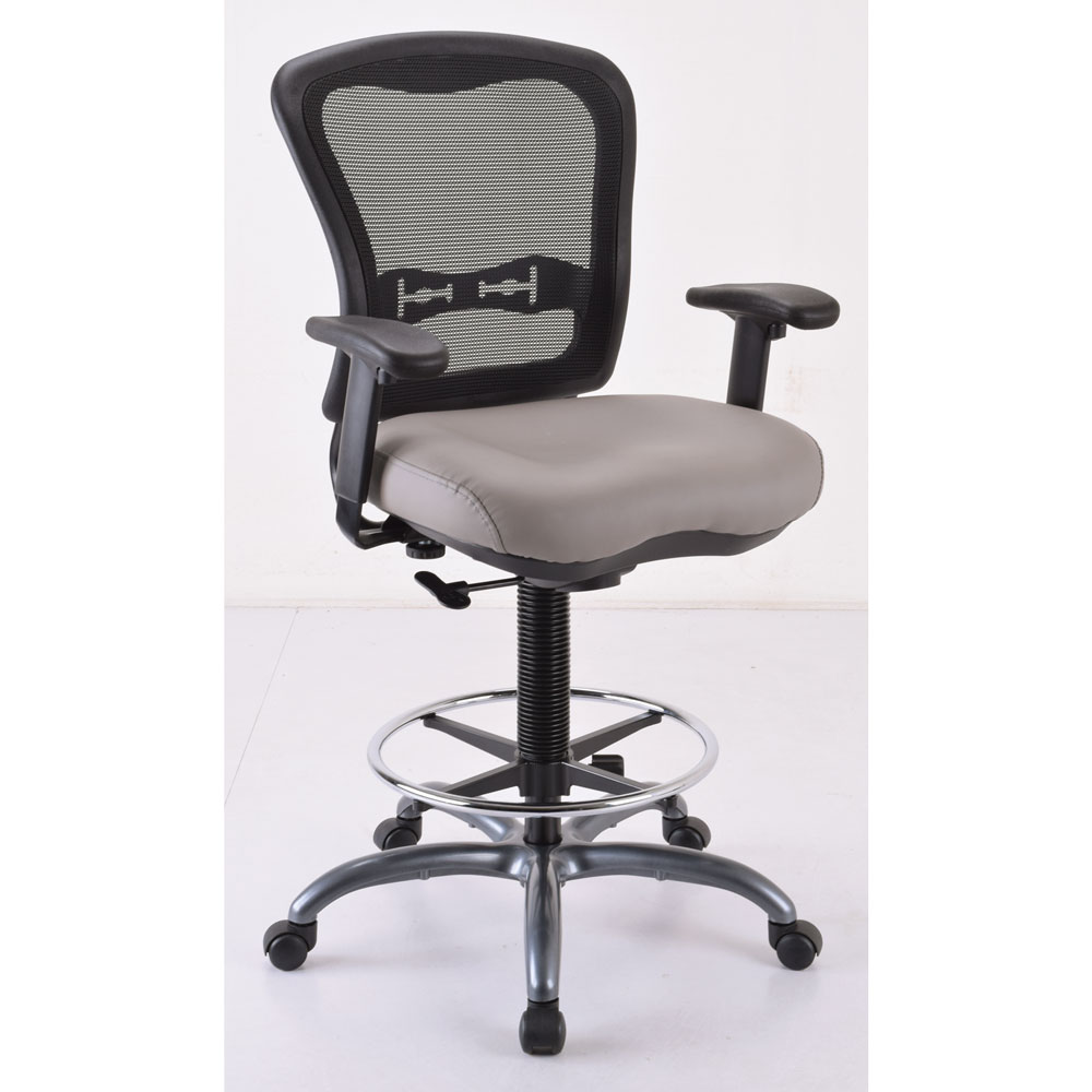 Armless, Mesh Back Task Stool with Black Upholstered Seat, Footring and Titanium Steel Base