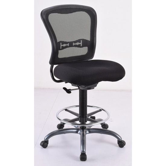 OfficeSource Spice Collection Armless, Mesh Back Task Stool with Black Upholstered Seat, Footring and Titanium Steel Base
