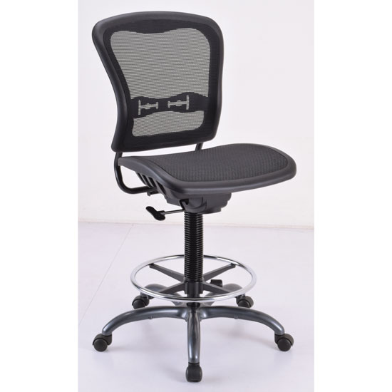 OfficeSource Spice Collection Armless, Mesh Back Task Stool with Mesh Seat and Back, Footring and Titanium Steel Base