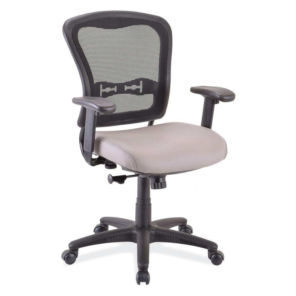 Mid Back Chair, Mesh Back, Black Upholstered Seat with Black Frame