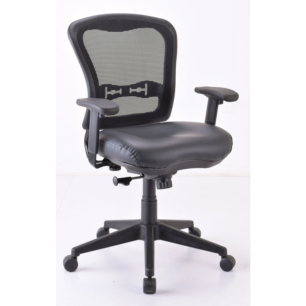 Mid Back Chair, Mesh Back, Black Upholstered Seat with Black Frame