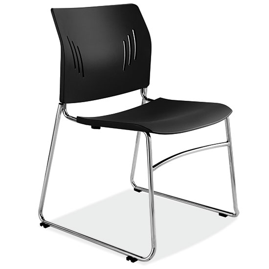 OfficeSource Stacked Seating Armless Stackable Side Chair with Chrome Frame