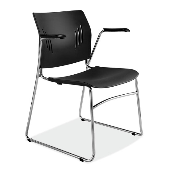 OfficeSource Stacked Seating Stackable Side Chair with Chrome Frame