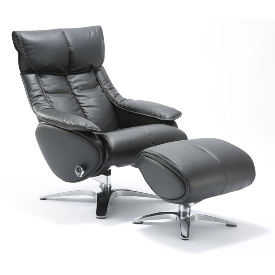 High Back Recliner and Ottoman with Aluminum Frame