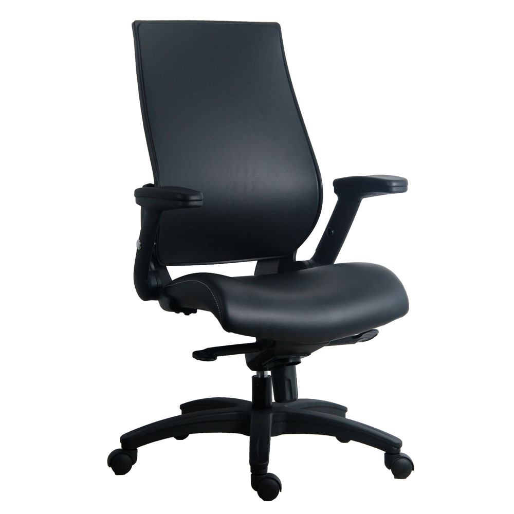 Flip Arm, Executive High Back With Black Frame