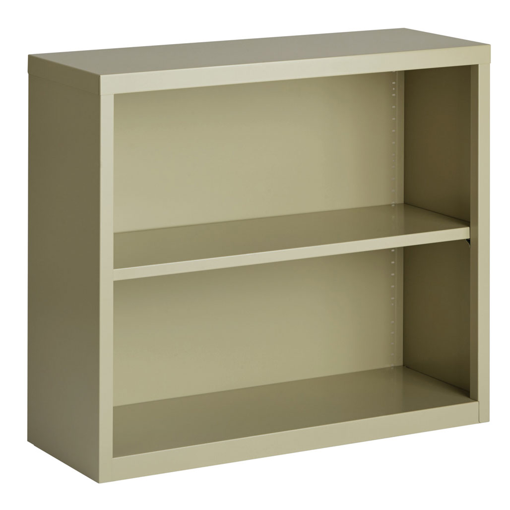 "OfficeSource Steel Bookcase Collection 2 Shelf Metal Bookcase, 30"" High"
