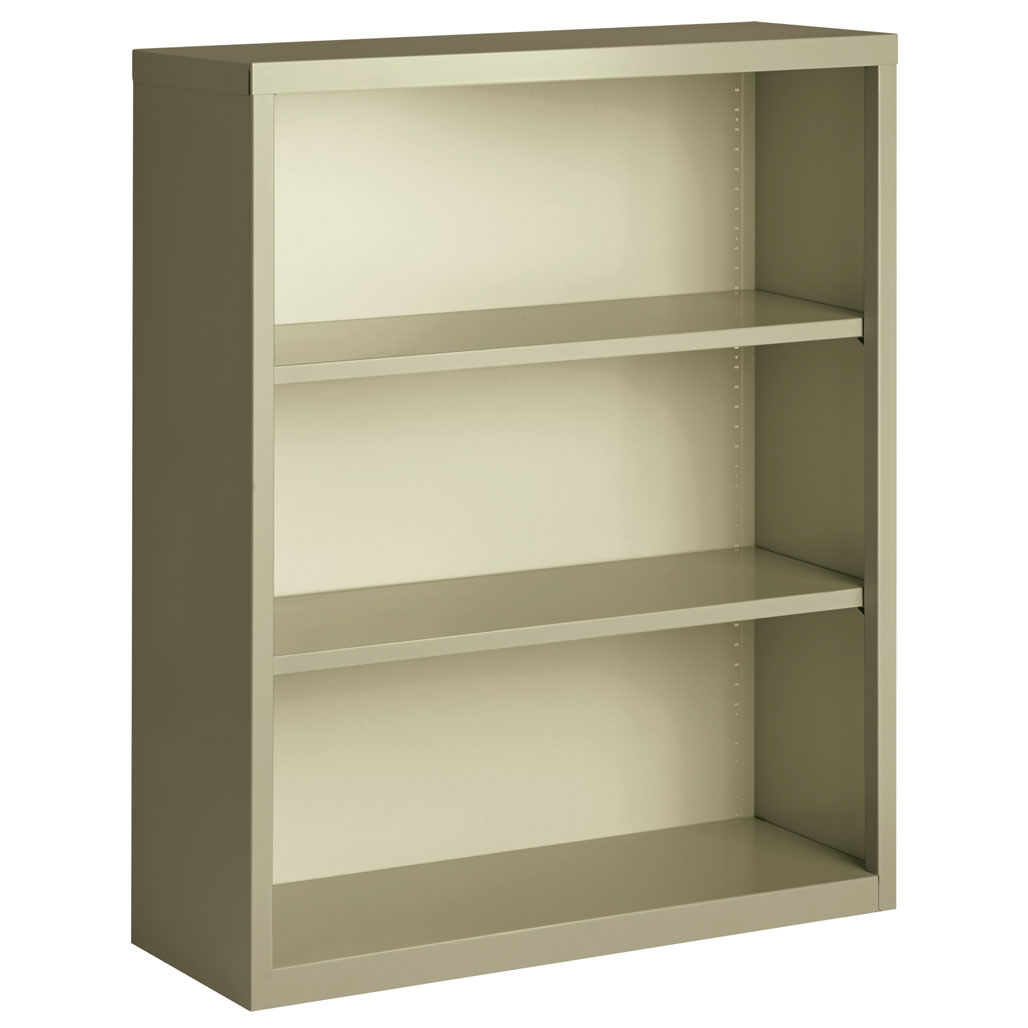 "OfficeSource Steel Bookcase Collection 3 Shelf Metal Bookcase, 42"" High"