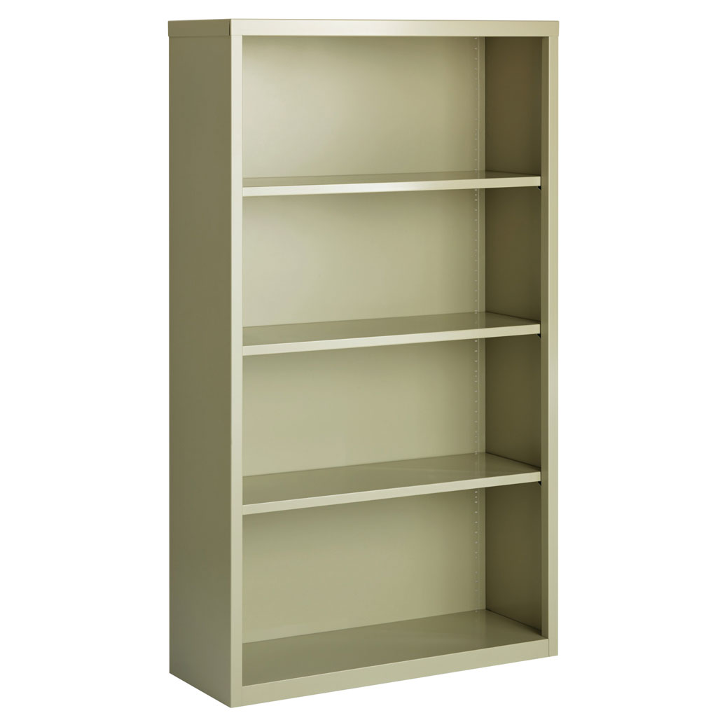 "OfficeSource Steel Bookcase Collection 4 Shelf Metal Bookcase, 60"" High"