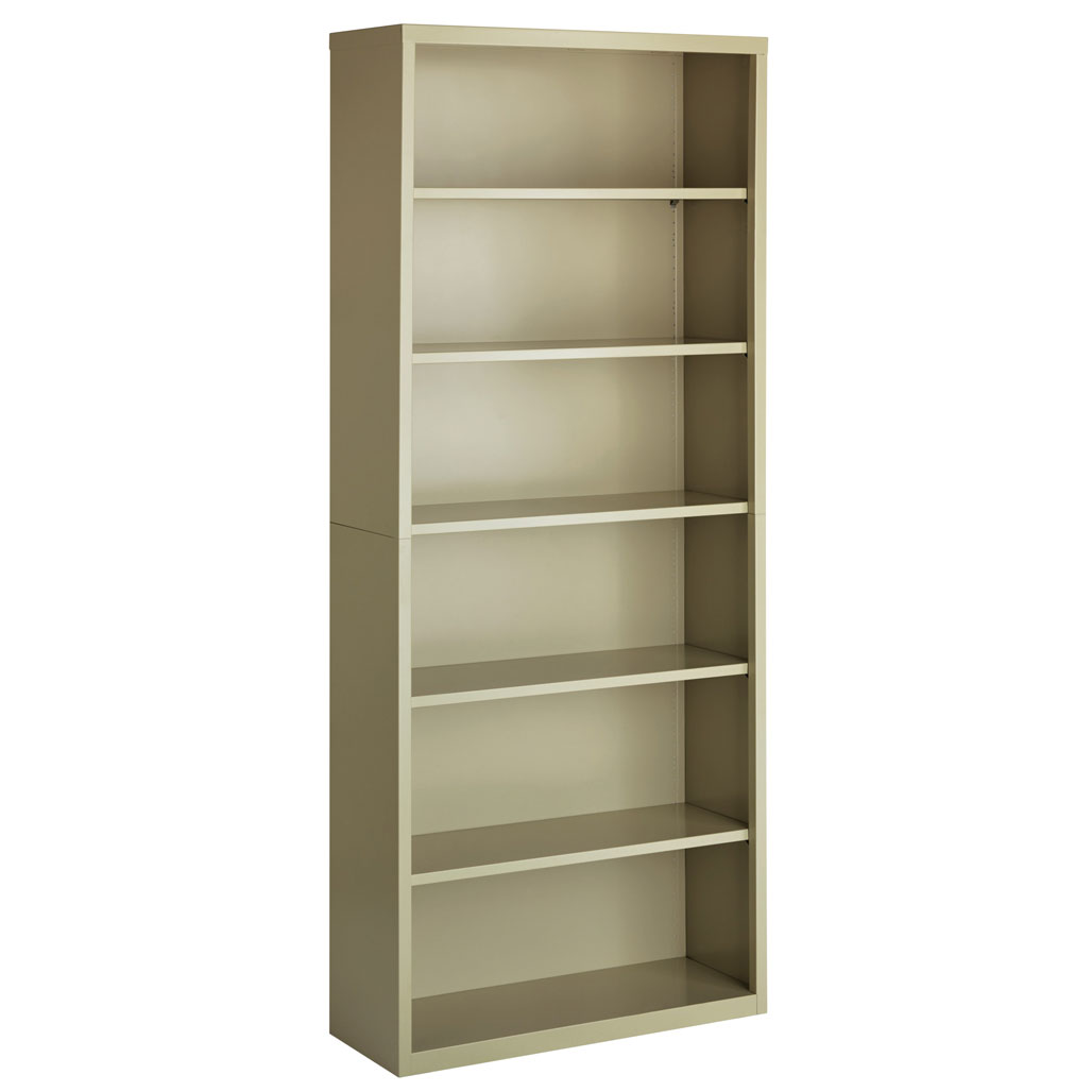"OfficeSource Steel Bookcase Collection 6 Shelf Metal Bookcase, 82"" High"