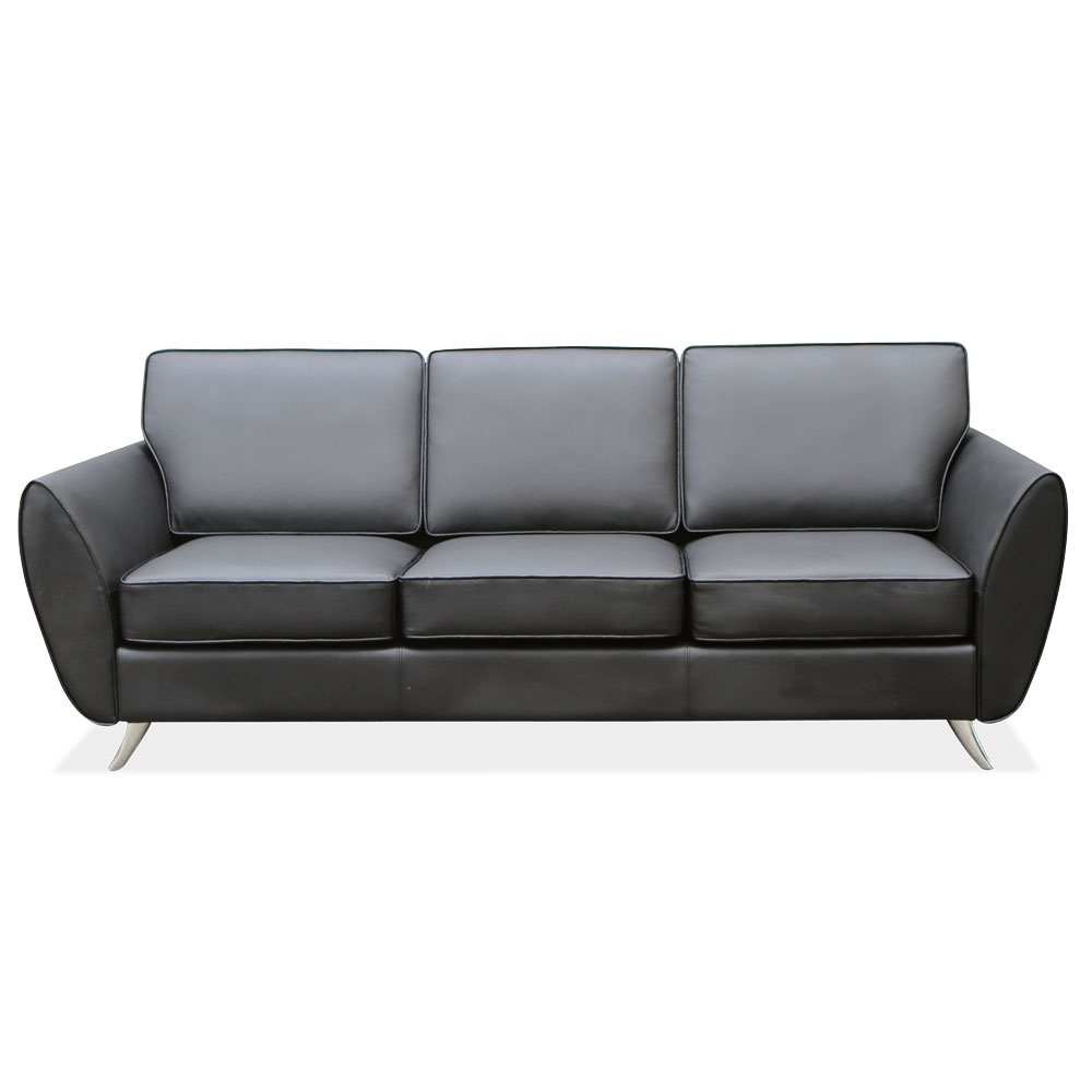 OfficeSource Sterling Collection Sofa with Brushed Chrome Legs