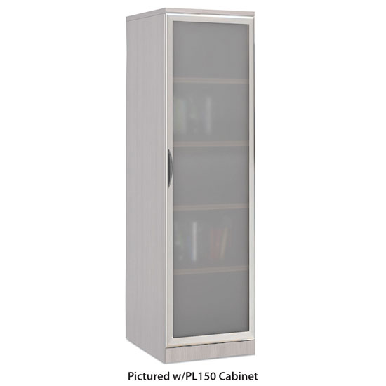 OfficeSource Storage & Wardrobe Cabinets Tempered Glass Silver Frame Cabinet Door For PL150, PL151