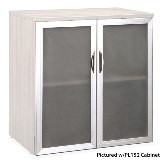 Tempered Glass Silver Frame Cabinet Door For PL152