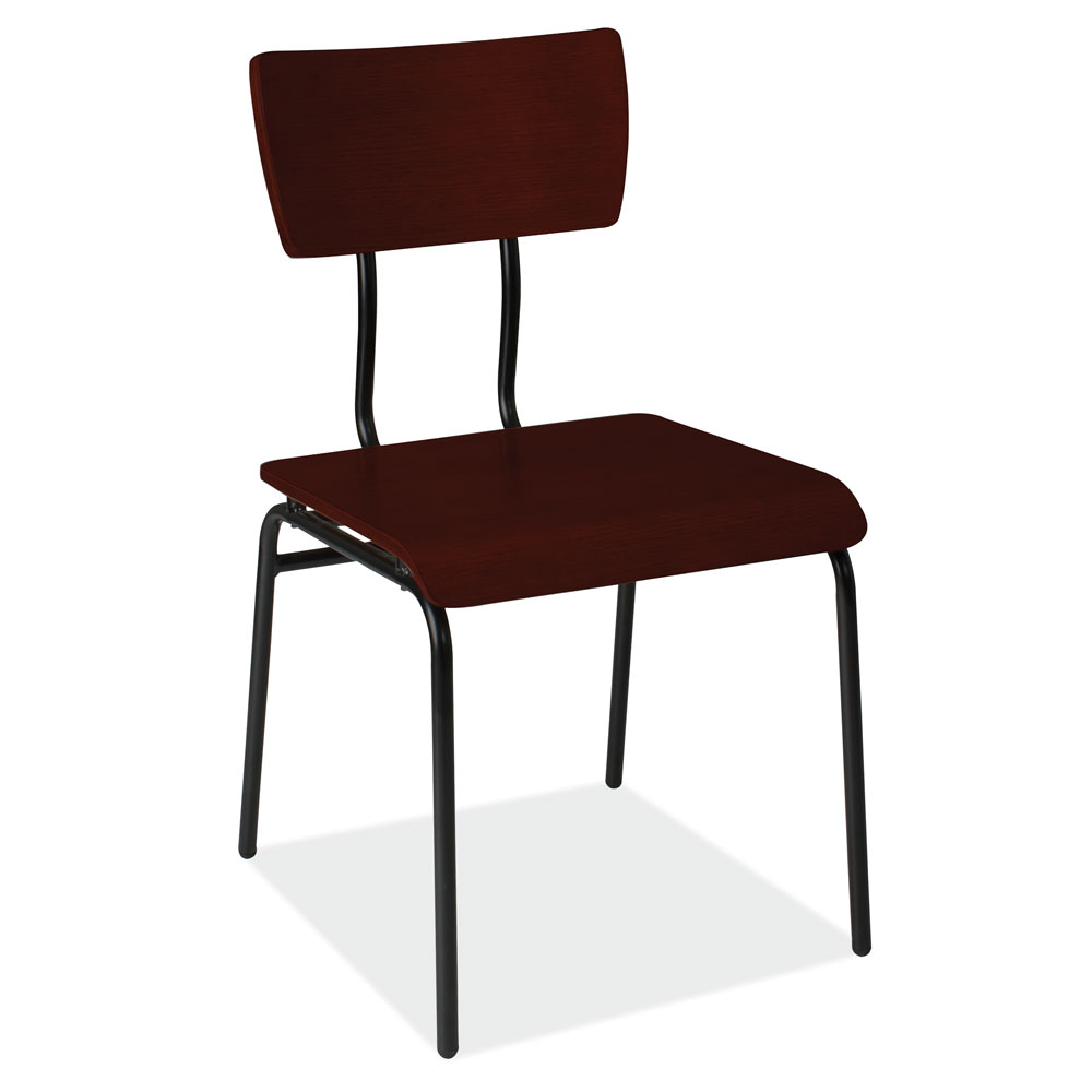 OfficeSource Timber Collection Wood Chair with Black Metal Frame