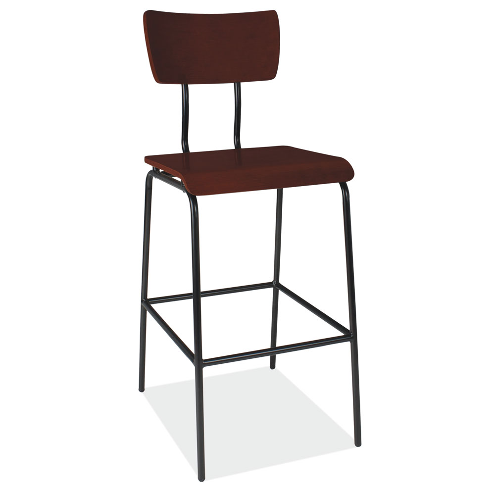 OfficeSource Timber Collection Cafe Height Wood Stool with Black Steel Base