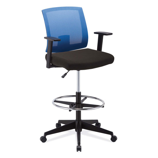 Mesh Back Task Stool, Upholstered Seat with Footring and Black Base