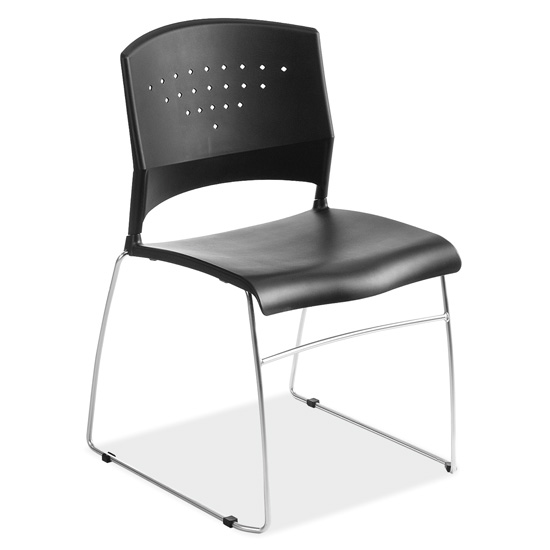 OfficeSource Tower Collection Stackable Side Chair with Chrome Frame