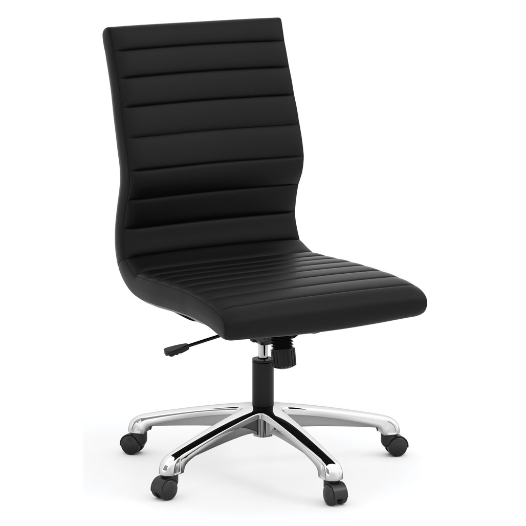 Armless Executive Mid Back Chair with Chrome Frame