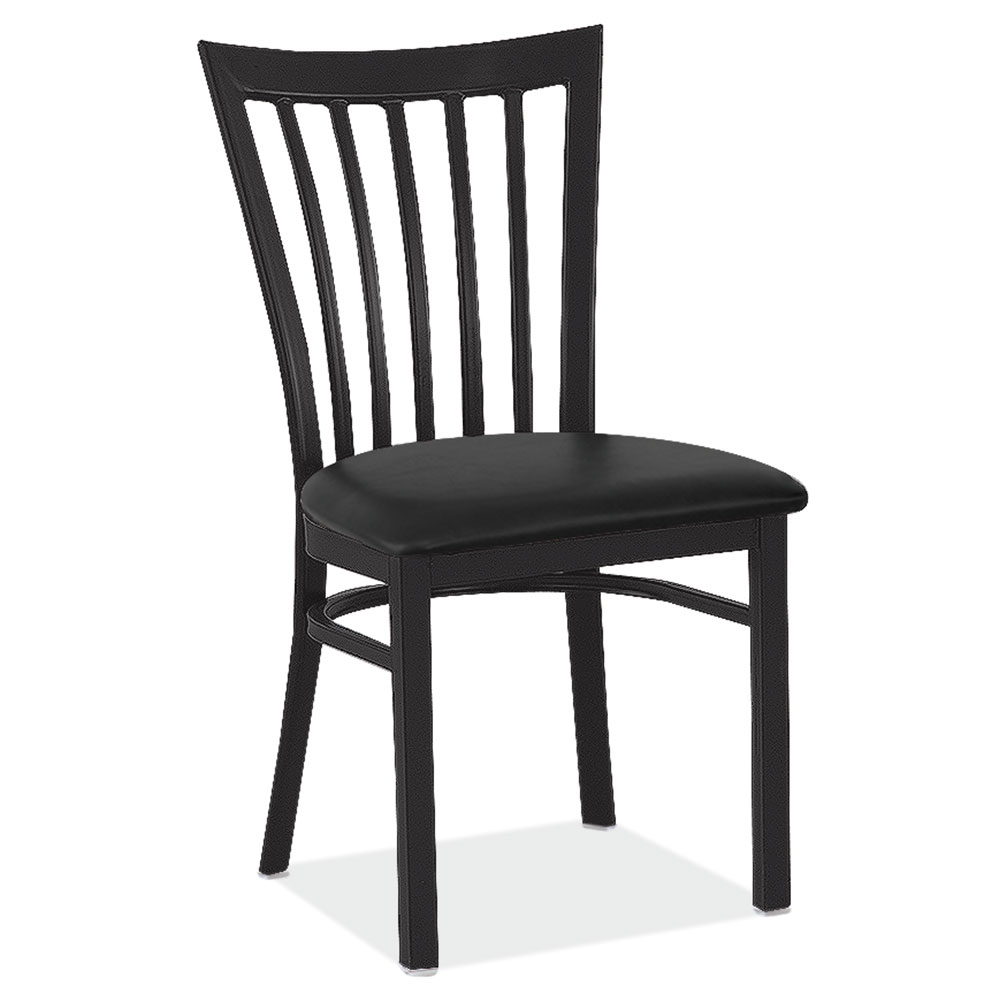 OfficeSource Universal Collection High Back Dining Chair with Black Wrinkle Steel Frame