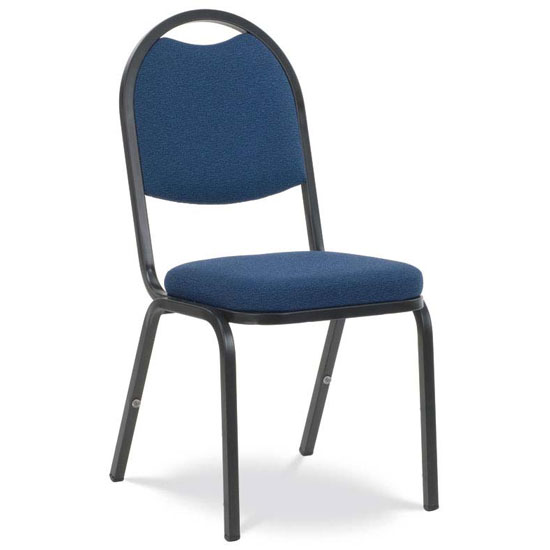 "Upholstered Stack Chair with 2"" Crown Seat and Metal Frame"