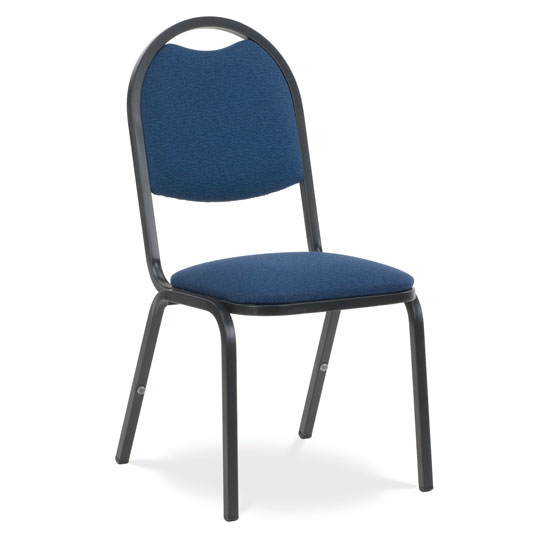 """Upholstered Stack Chair with 2"""" Dome Seat and Metal Frame"""