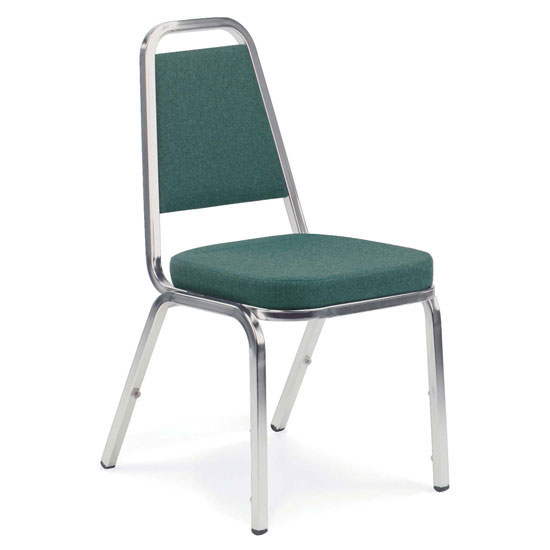 """Upholstered Stack Chair with 2"""" Crown Seat and Metal Frame"""